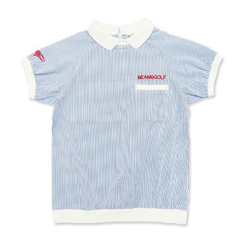 BEAMS GOLF ビームスゴルフ 2018年モデル 半袖ポロシャツ ストライプ ブルー系 S