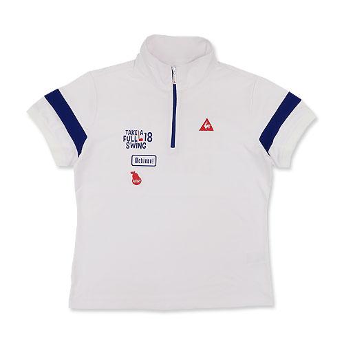 LECOQ GOLF ルコックゴルフ  ハーフジップ半袖Tシャツ  ホワイト系 LL