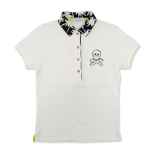 MARK&LONA マークアンドロナ  半袖ポロシャツ 襟柄、胸スカル刺繍 ホワイト系 S