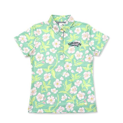 SAMANTHA THAVASA サマンサタバサ  半袖ポロシャツ NO7 花柄 グリーン系 38