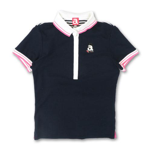 ARCHIVIO アルチビオ 半袖ポロシャツ バックボーダープリント ネイビー系 38