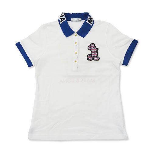 MARK&LONA マークアンドロナ ×Disney 半袖ポロシャツ スカル×ミッキー ホワイト系 L