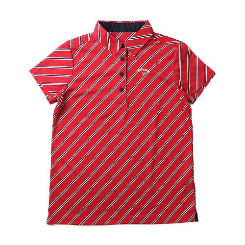 CALLAWAY キャロウェイ 半袖ポロシャツ 斜めストライプ レッド系 L