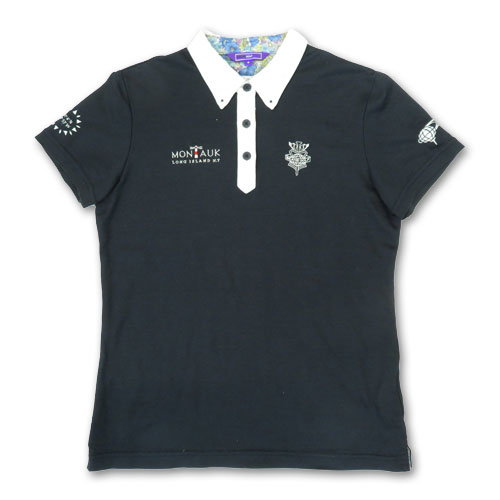 BEAMS GOLF ビームスゴルフ 半袖ポロシャツ 花柄 PAR ブラック系 M