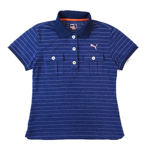 PUMA GOLF プーマゴルフ 半袖ポロシャツ ボーダー パープル系 M