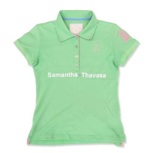 SAMANTHA THAVASA サマンサタバサ 半袖ポロシャツ グリーン系 S