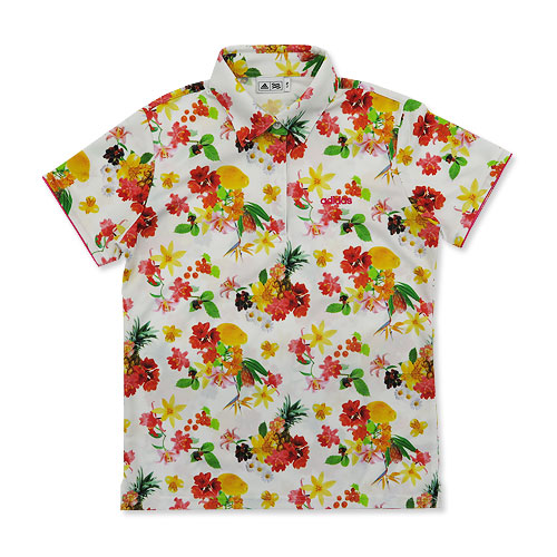 ADIDAS GOLF アディダスゴルフ 半袖ポロシャツ 花柄 L/G ホワイト系